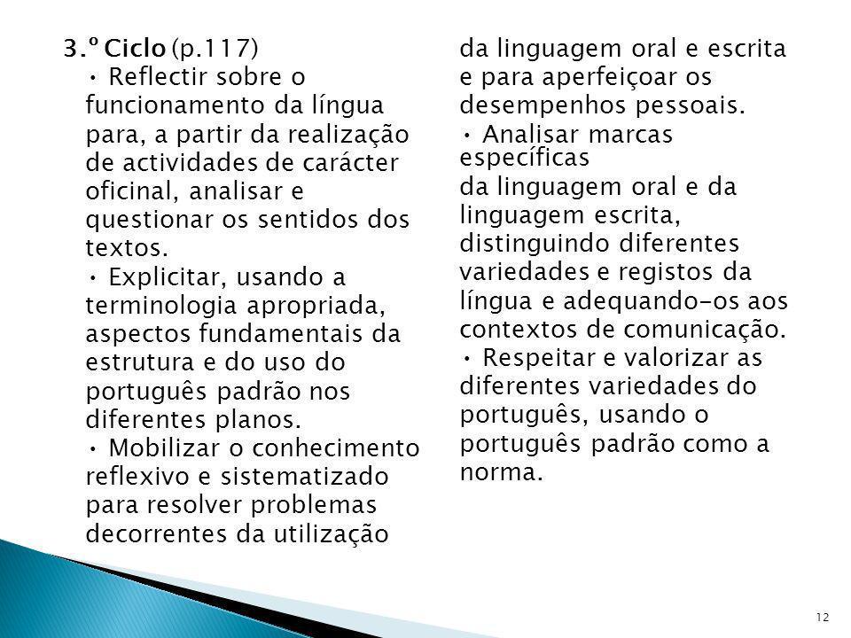 3.º Ciclo (p.117) Reflectir sobre o funcionamento da língua para, a partir da realização de actividades de carácter oficinal, analisar e questionar os