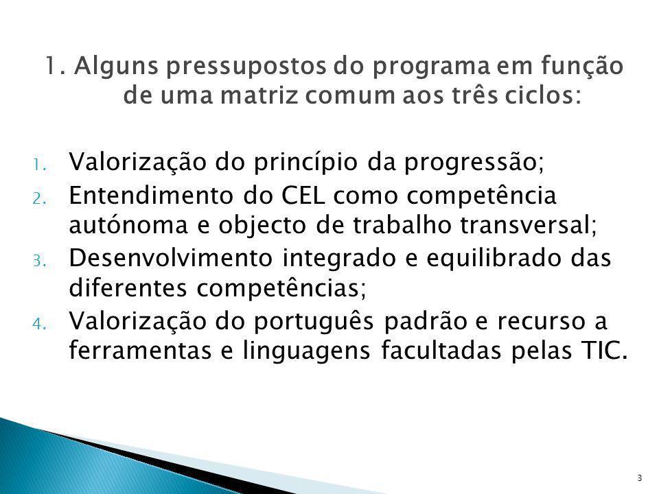 1. Alguns pressupostos do programa em função de uma matriz comum aos três ciclos: 1. Valorização do princípio da progressão; 2. Entendimento do CEL co
