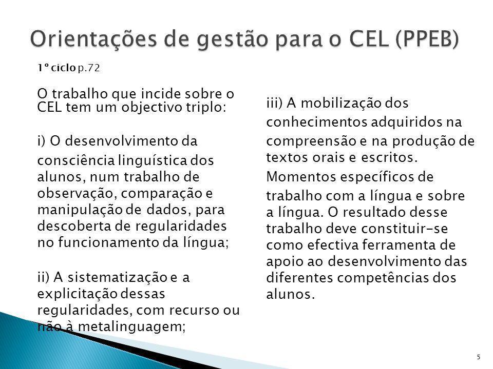 1º ciclo p.72 O trabalho que incide sobre o CEL tem um objectivo triplo: i) O desenvolvimento da consciência linguística dos alunos, num trabalho de o