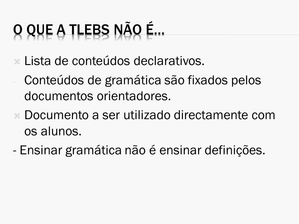Lista de conteúdos declarativos. - Conteúdos de gramática são fixados pelos documentos orientadores. Documento a ser utilizado directamente com os alu