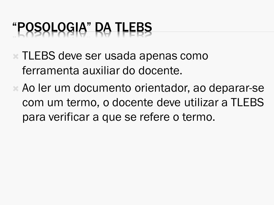 TLEBS deve ser usada apenas como ferramenta auxiliar do docente. Ao ler um documento orientador, ao deparar-se com um termo, o docente deve utilizar a