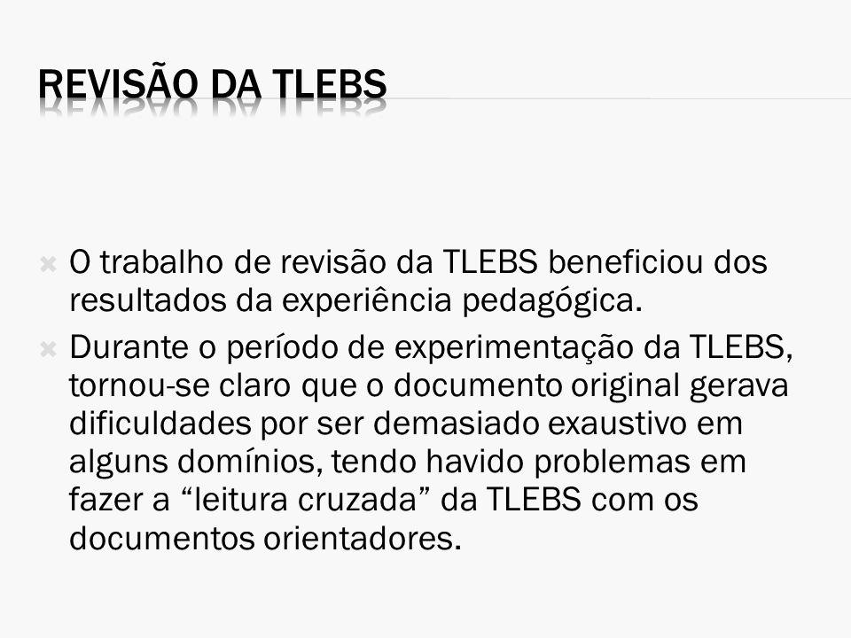 O trabalho de revisão da TLEBS beneficiou dos resultados da experiência pedagógica. Durante o período de experimentação da TLEBS, tornou-se claro que