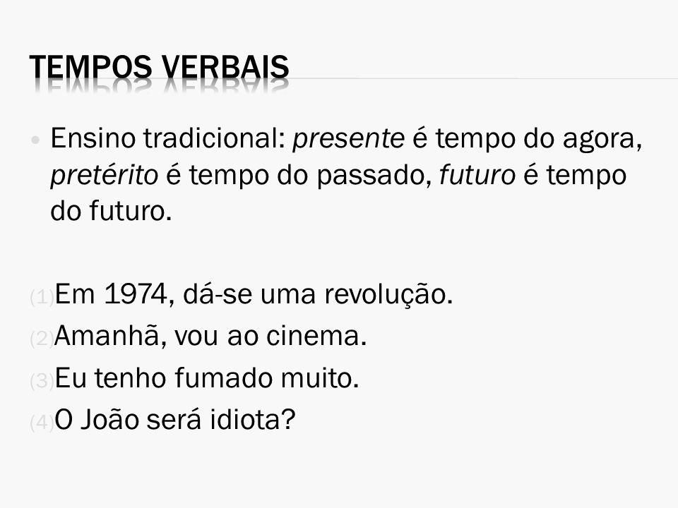 Ensino tradicional: presente é tempo do agora, pretérito é tempo do passado, futuro é tempo do futuro. (1) Em 1974, dá-se uma revolução. (2) Amanhã, v