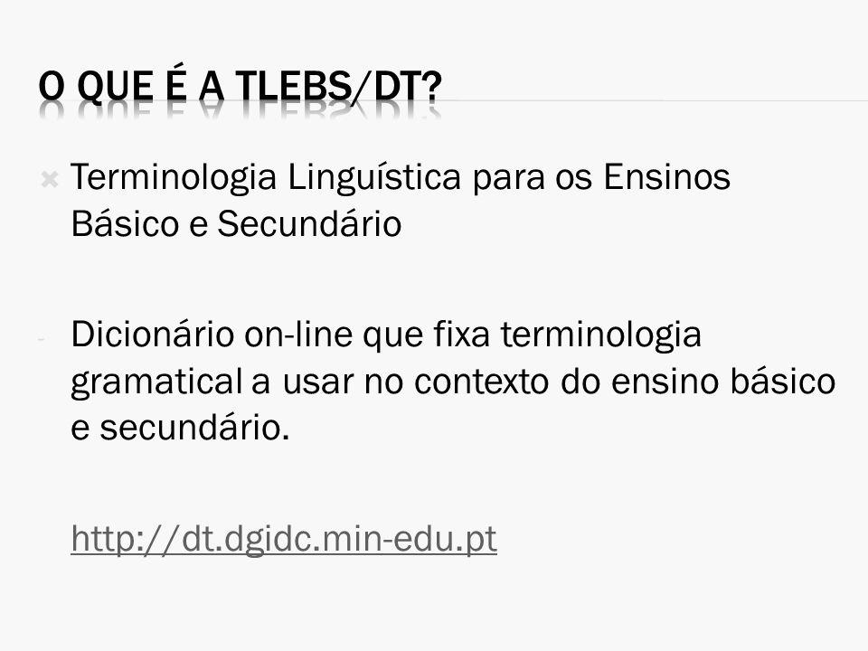 Terminologia Linguística para os Ensinos Básico e Secundário - Dicionário on-line que fixa terminologia gramatical a usar no contexto do ensino básico