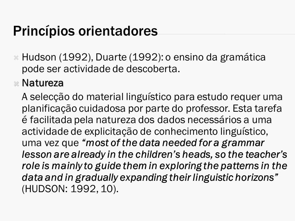 Princípios orientadores Hudson (1992), Duarte (1992): o ensino da gramática pode ser actividade de descoberta. Natureza Natureza A selecção do materia