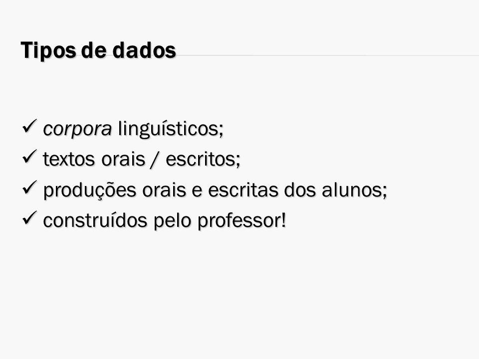 Tipos de dados corpora linguísticos; corpora linguísticos; textos orais / escritos; textos orais / escritos; produções orais e escritas dos alunos; pr