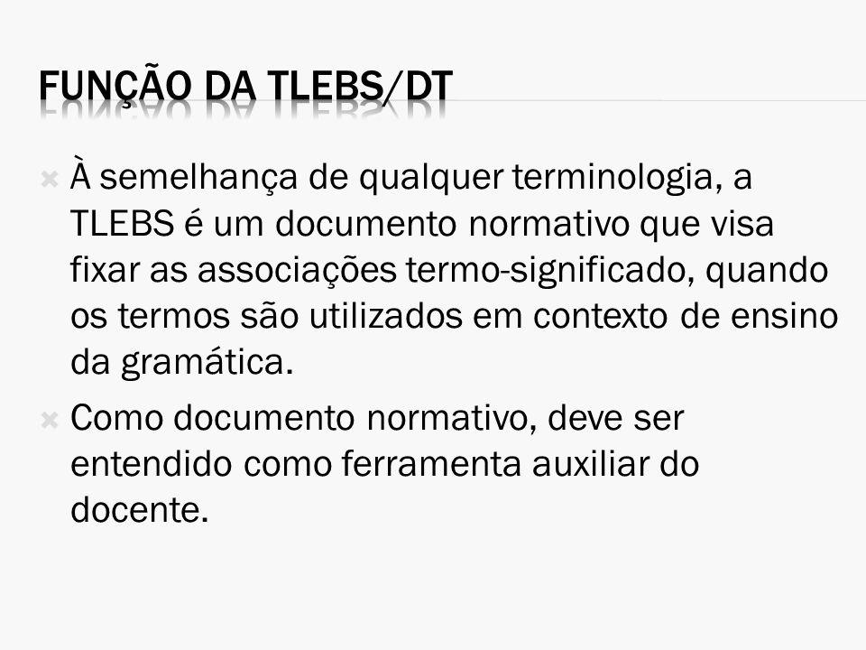 À semelhança de qualquer terminologia, a TLEBS é um documento normativo que visa fixar as associações termo-significado, quando os termos são utilizad