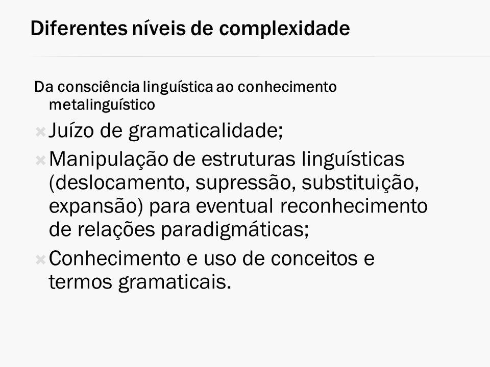 Diferentes níveis de complexidade Da consciência linguística ao conhecimento metalinguístico Juízo de gramaticalidade; Manipulação de estruturas lingu