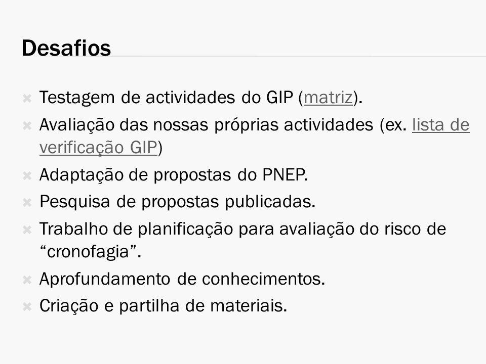 Desafios Testagem de actividades do GIP (matriz).matriz Avaliação das nossas próprias actividades (ex. lista de verificação GIP)lista de verificação G