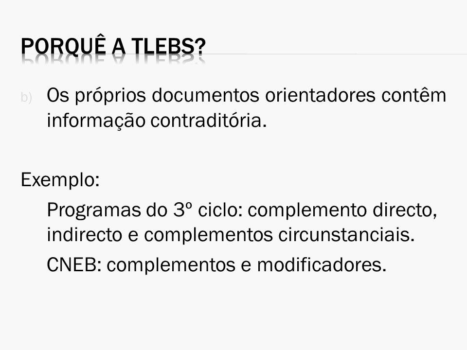 b) Os próprios documentos orientadores contêm informação contraditória. Exemplo: Programas do 3º ciclo: complemento directo, indirecto e complementos
