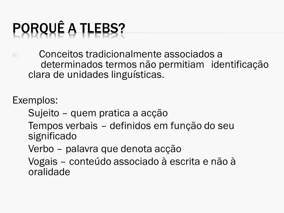 e) Conceitos tradicionalmente associados a determinados termos não permitiam identificação clara de unidades linguísticas. Exemplos: Sujeito – quem pr