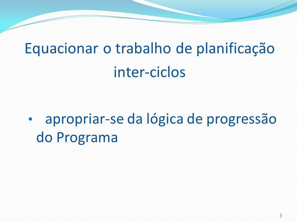 Equacionar o trabalho de planificação inter-ciclos apropriar-se da lógica de progressão do Programa 5
