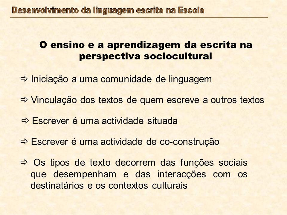 O ensino e a aprendizagem da escrita na perspectiva sociocultural Iniciação a uma comunidade de linguagem Vinculação dos textos de quem escreve a outr