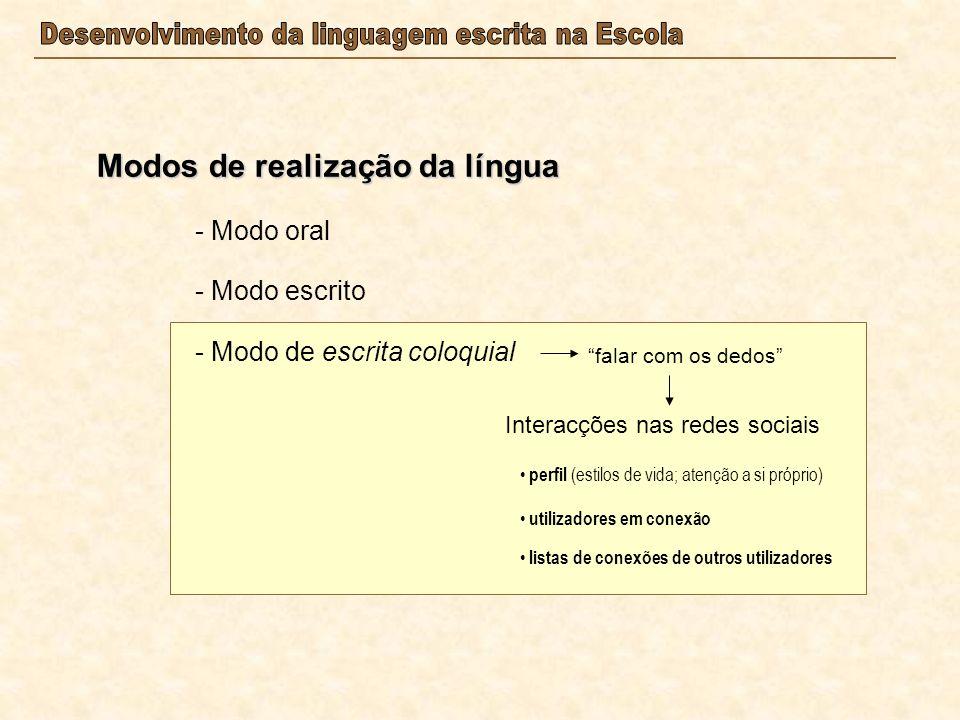 Modos de realização da língua - Modo oral - Modo escrito - Modo de escrita coloquial falar com os dedos Interacções nas redes sociais perfil (estilos