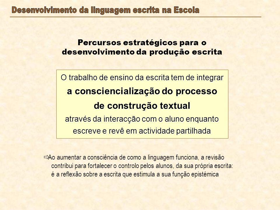 Percursos estratégicos para o desenvolvimento da produção escrita O trabalho de ensino da escrita tem de integrar a consciencialização do processo de