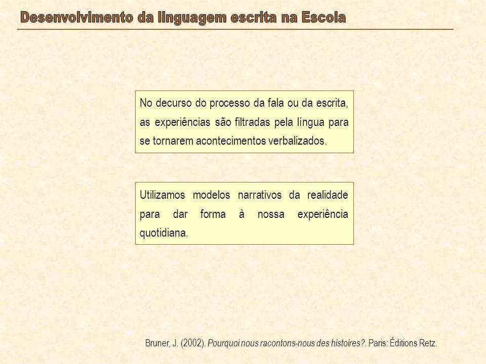 No decurso do processo da fala ou da escrita, as experiências são filtradas pela língua para se tornarem acontecimentos verbalizados. Bruner, J. (2002