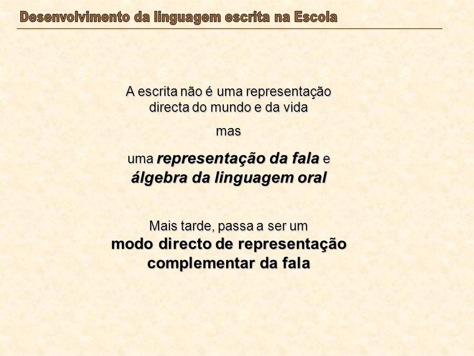 A escrita não é uma representação directa do mundo e da vida mas uma representação da fala e álgebra da linguagem oral Mais tarde, passa a ser um modo