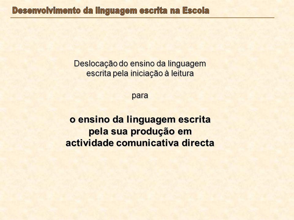 Deslocação do ensino da linguagem escrita pela iniciação à leitura para o ensino da linguagem escrita pela sua produção em actividade comunicativa dir