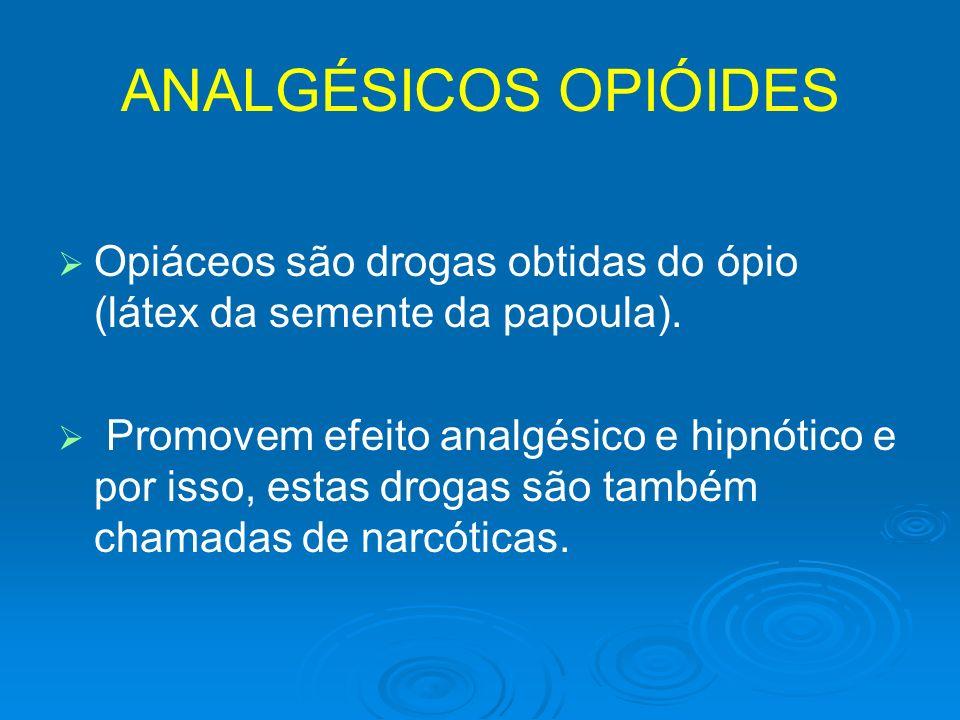 ANALGÉSICOS OPIÓIDES Opiáceos são drogas obtidas do ópio (látex da semente da papoula). Promovem efeito analgésico e hipnótico e por isso, estas droga