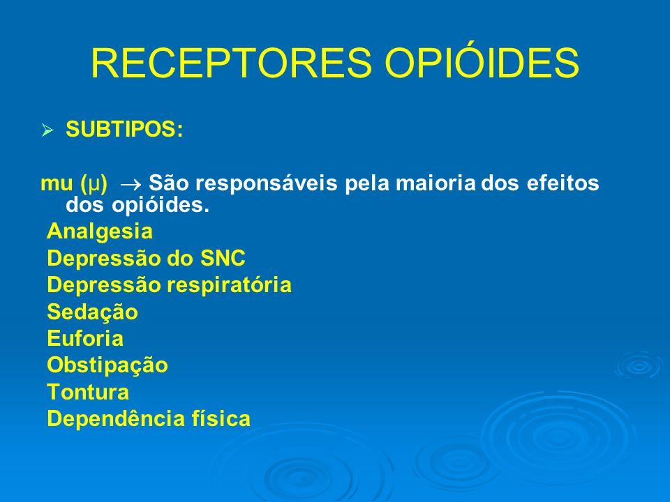 RECEPTORES OPIÓIDES SUBTIPOS: mu (μ) São responsáveis pela maioria dos efeitos dos opióides. Analgesia Depressão do SNC Depressão respiratória Sedação