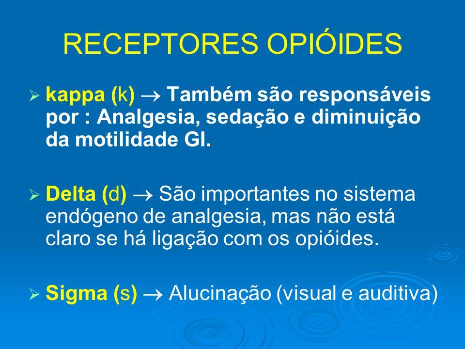 RECEPTORES OPIÓIDES kappa (k) Também são responsáveis por : Analgesia, sedação e diminuição da motilidade GI. Delta (d) São importantes no sistema end