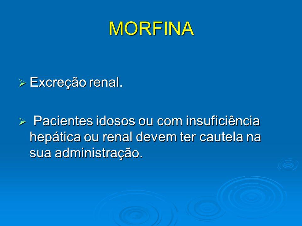 MORFINA Excreção renal. Excreção renal. Pacientes idosos ou com insuficiência hepática ou renal devem ter cautela na sua administração. Pacientes idos