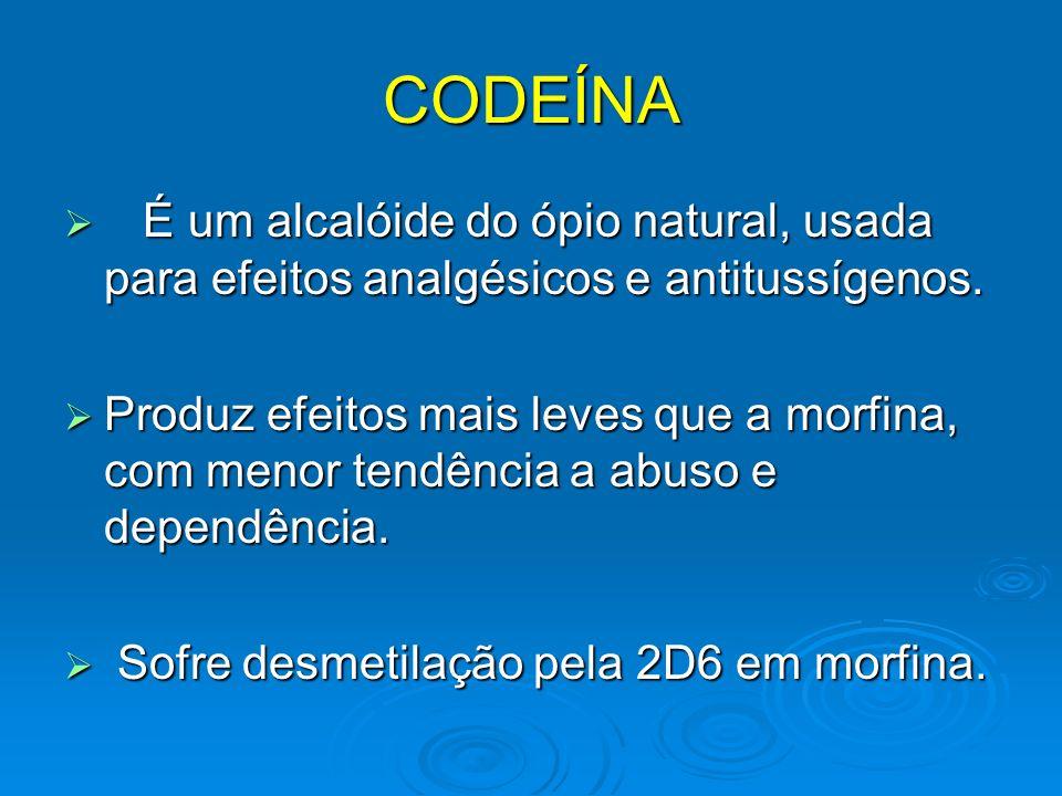 CODEÍNA É um alcalóide do ópio natural, usada para efeitos analgésicos e antitussígenos. É um alcalóide do ópio natural, usada para efeitos analgésico