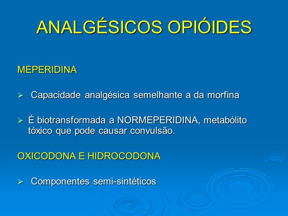 ANALGÉSICOS OPIÓIDES MEPERIDINA Capacidade analgésica semelhante a da morfina Capacidade analgésica semelhante a da morfina É biotransformada a NORMEP