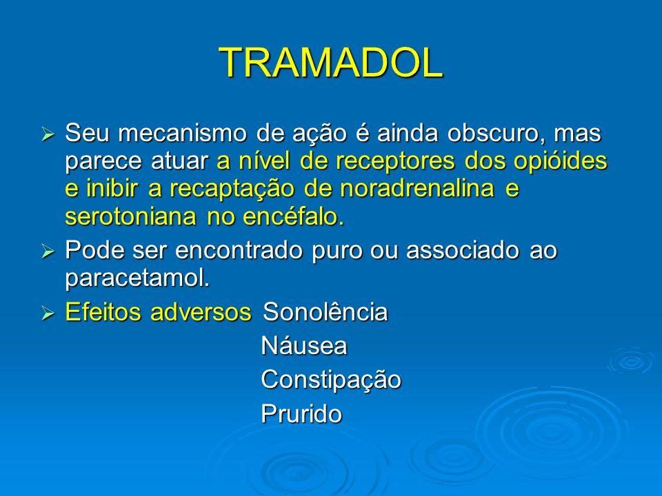 TRAMADOL Seu mecanismo de ação é ainda obscuro, mas parece atuar a nível de receptores dos opióides e inibir a recaptação de noradrenalina e serotonia