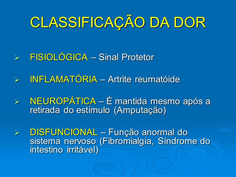 CLASSIFICAÇÃO DA DOR FISIOLÓGICA – Sinal Protetor FISIOLÓGICA – Sinal Protetor INFLAMATÓRIA – Artrite reumatóide INFLAMATÓRIA – Artrite reumatóide NEU