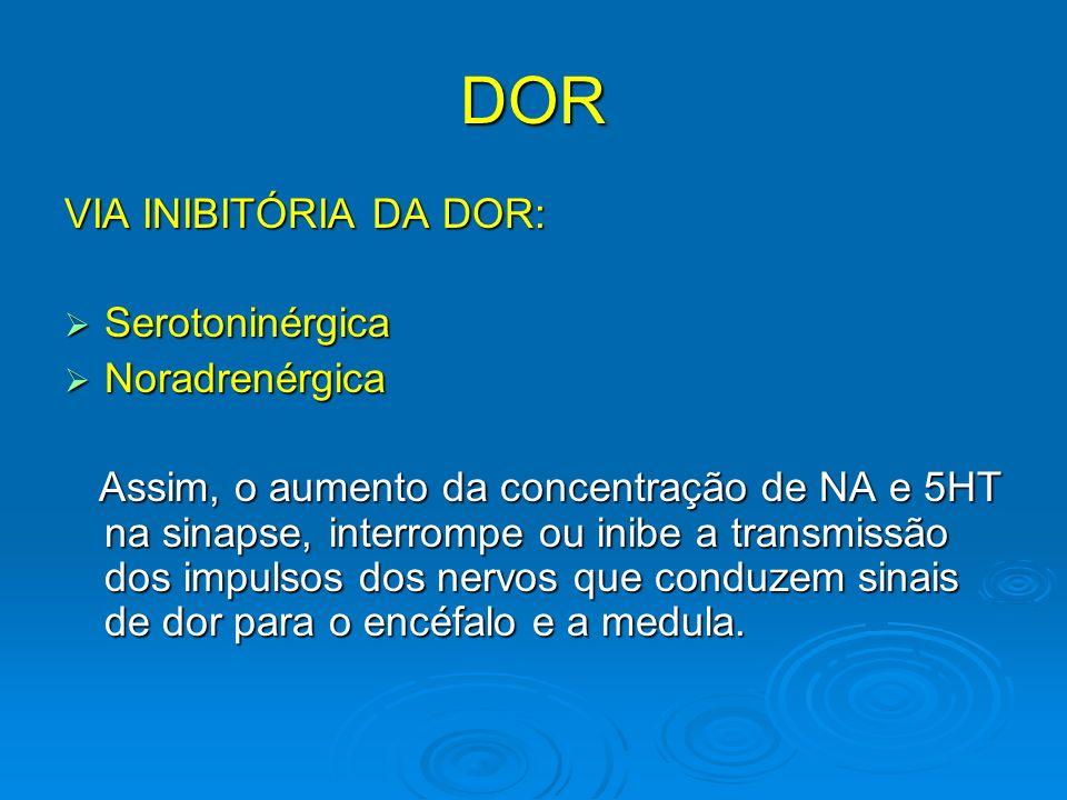 DOR VIA INIBITÓRIA DA DOR: Serotoninérgica Serotoninérgica Noradrenérgica Noradrenérgica Assim, o aumento da concentração de NA e 5HT na sinapse, inte