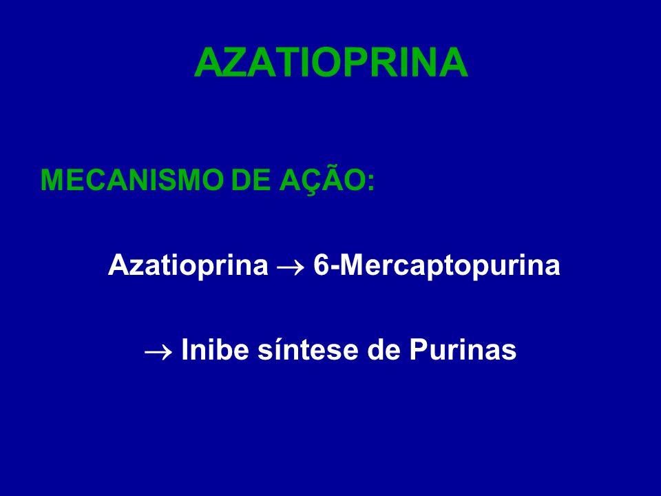 AZATIOPRINA MECANISMO DE AÇÃO: Azatioprina 6-Mercaptopurina Inibe síntese de Purinas