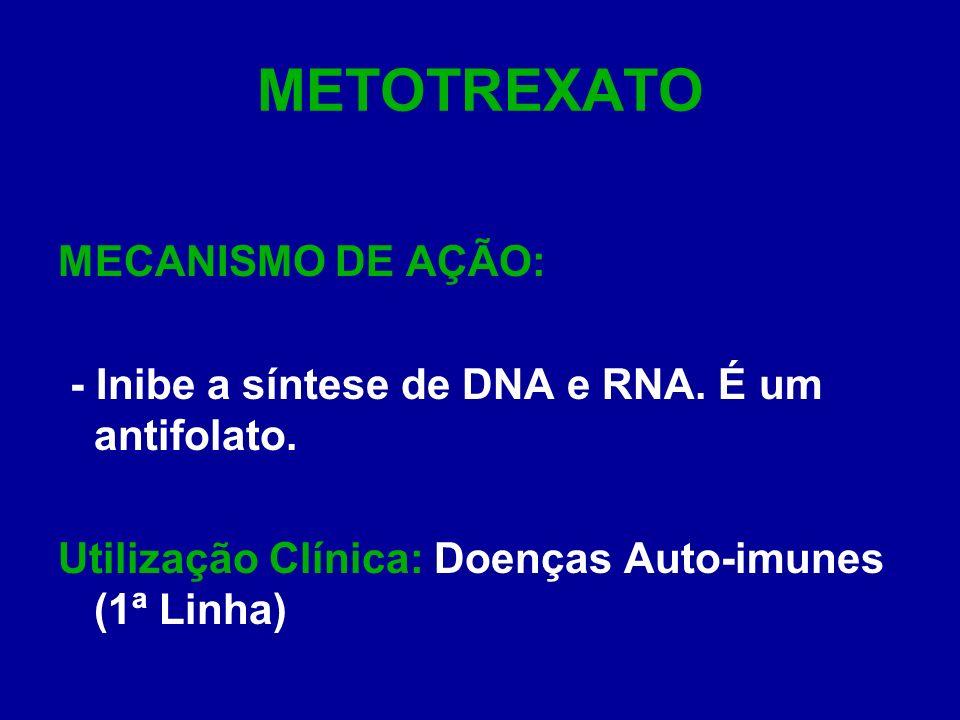 METOTREXATO MECANISMO DE AÇÃO: - Inibe a síntese de DNA e RNA. É um antifolato. Utilização Clínica: Doenças Auto-imunes (1ª Linha)