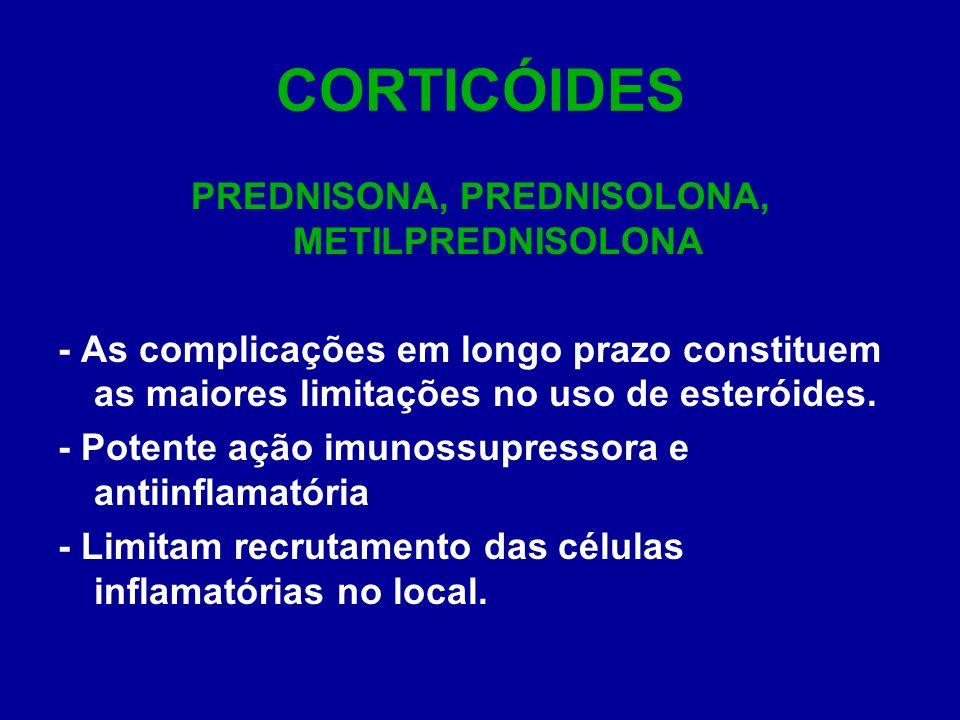 CORTICÓIDES PREDNISONA, PREDNISOLONA, METILPREDNISOLONA - As complicações em longo prazo constituem as maiores limitações no uso de esteróides. - Pote