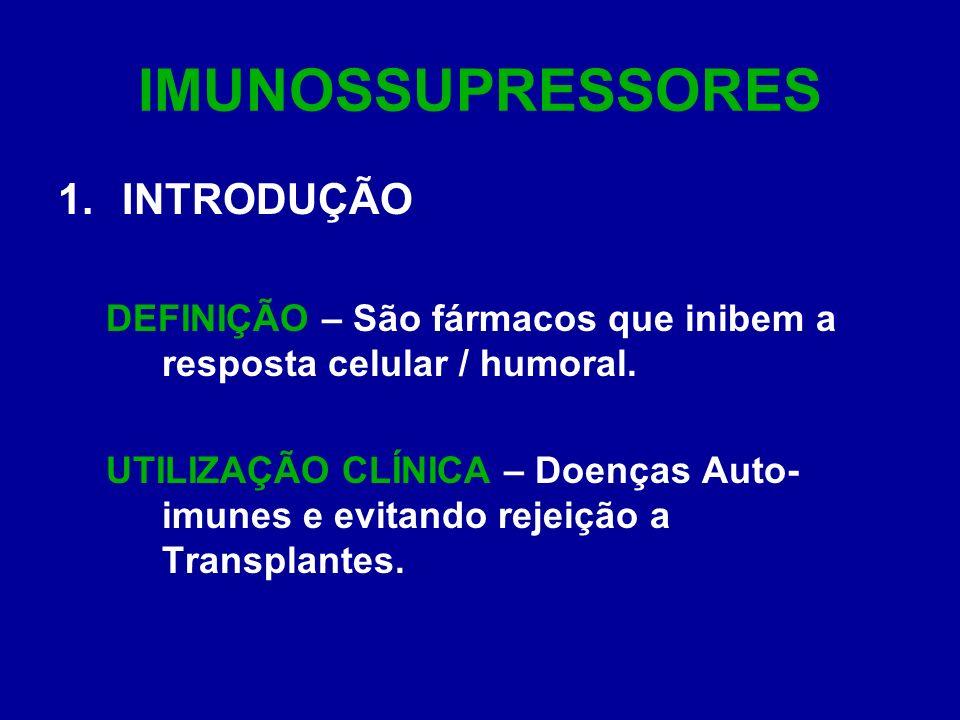 IMUNOSSUPRESSORES CLASSIFICAÇÃO QUANTO AO MECANISMO DE AÇÃO: INIBIDORES ESPECÍFICOS DA CÉLULA T AGENTES CITOTÓXICOS GLICOCORTICÓIDES ANTICORPOS IMUNOSSUPRESSORES