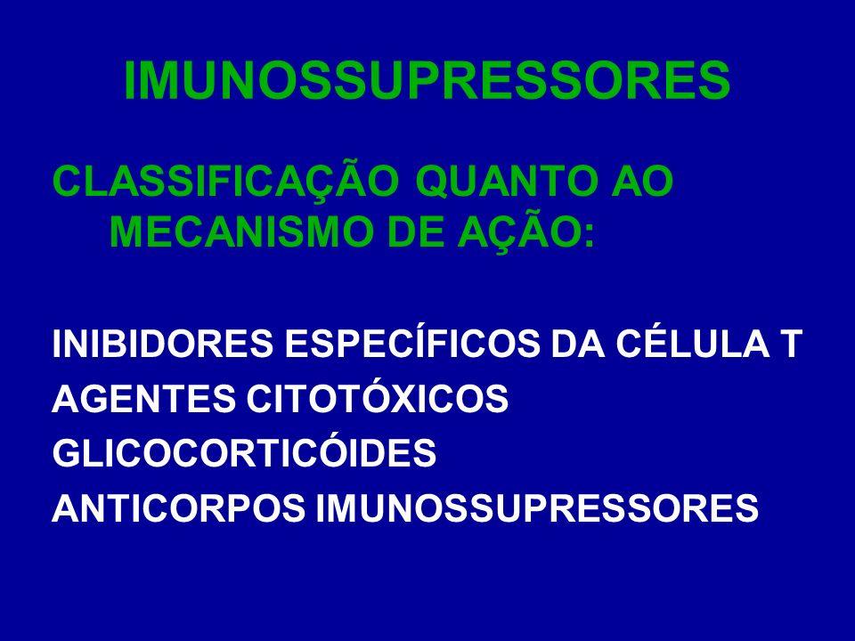 IMUNOSSUPRESSORES CLASSIFICAÇÃO QUANTO AO MECANISMO DE AÇÃO: INIBIDORES ESPECÍFICOS DA CÉLULA T AGENTES CITOTÓXICOS GLICOCORTICÓIDES ANTICORPOS IMUNOS