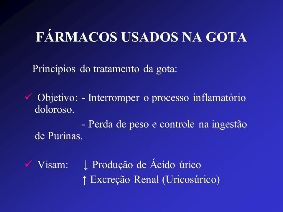 FÁRMACOS USADOS NA GOTA Princípios do tratamento da gota: Objetivo: - Interromper o processo inflamatório doloroso. - Perda de peso e controle na inge