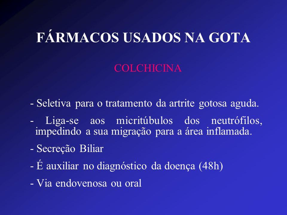 FÁRMACOS USADOS NA GOTA COLCHICINA - Seletiva para o tratamento da artrite gotosa aguda. - Liga-se aos micritúbulos dos neutrófilos, impedindo a sua m