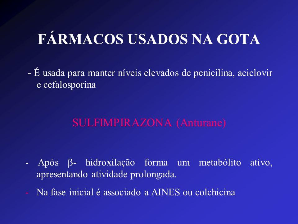FÁRMACOS USADOS NA GOTA - É usada para manter níveis elevados de penicilina, aciclovir e cefalosporina SULFIMPIRAZONA (Anturane) - Após - hidroxilação