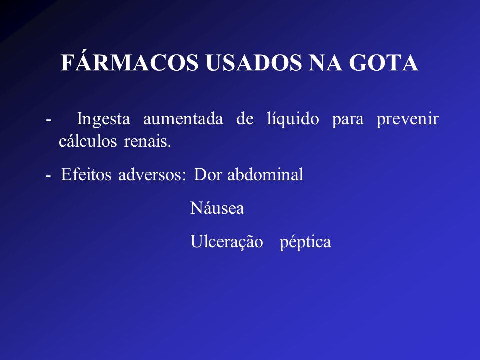FÁRMACOS USADOS NA GOTA - Ingesta aumentada de líquido para prevenir cálculos renais. - Efeitos adversos: Dor abdominal Náusea Ulceração péptica