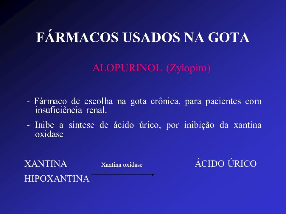 FÁRMACOS USADOS NA GOTA ALOPURINOL (Zylopim) - Fármaco de escolha na gota crônica, para pacientes com insuficiência renal. - Inibe a síntese de ácido