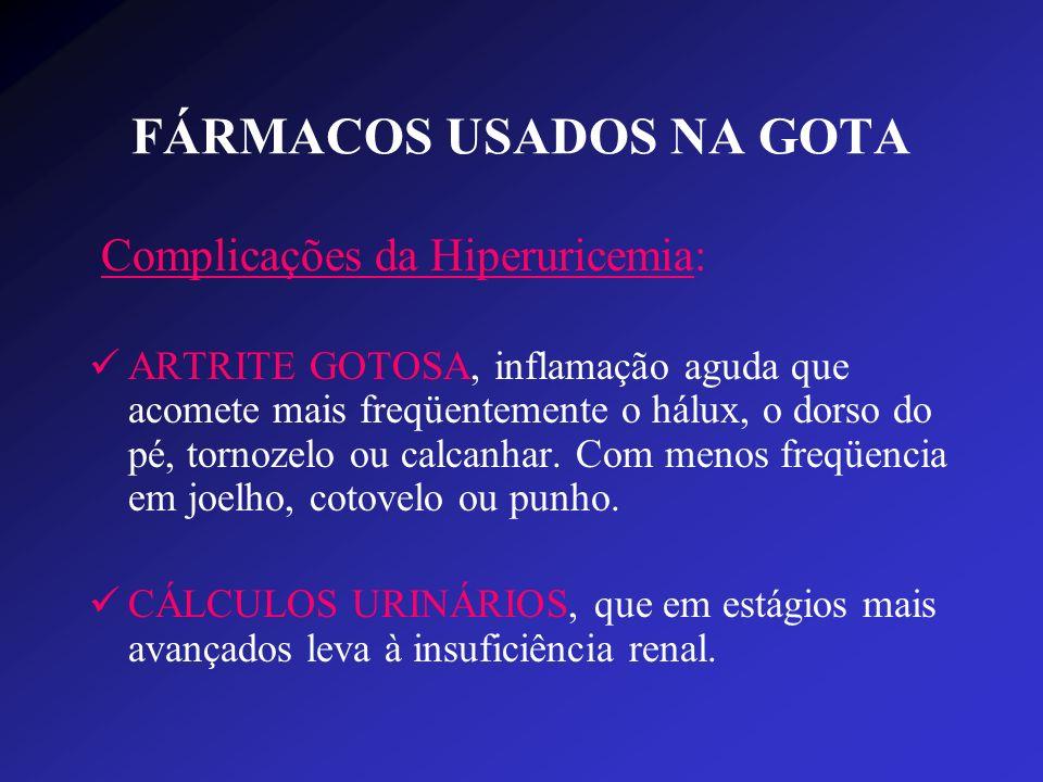 FÁRMACOS USADOS NA GOTA Complicações da Hiperuricemia: ARTRITE GOTOSA, inflamação aguda que acomete mais freqüentemente o hálux, o dorso do pé, tornoz