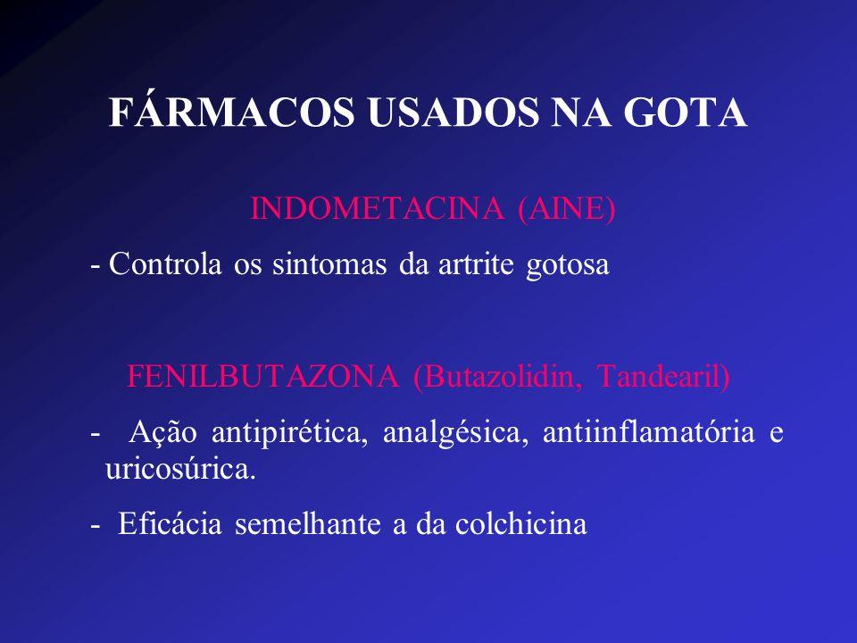 FÁRMACOS USADOS NA GOTA INDOMETACINA (AINE) - Controla os sintomas da artrite gotosa FENILBUTAZONA (Butazolidin, Tandearil) - Ação antipirética, analg
