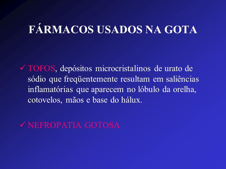 FÁRMACOS USADOS NA GOTA TOFOS, depósitos microcristalinos de urato de sódio que freqüentemente resultam em saliências inflamatórias que aparecem no ló