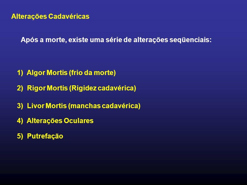 Alterações Cadavéricas Após a morte, existe uma série de alterações seqüenciais: 1) Algor Mortis (frio da morte) 2) Rigor Mortis (Rigidez cadavérica) 3) Livor Mortis (manchas cadavérica) 4) Alterações Oculares 5) Putrefação