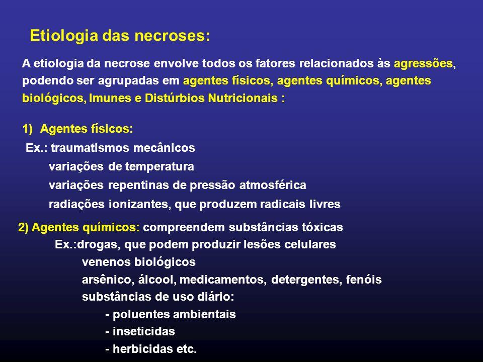 A etiologia da necrose envolve todos os fatores relacionados às agressões, podendo ser agrupadas em agentes físicos, agentes químicos, agentes biológi