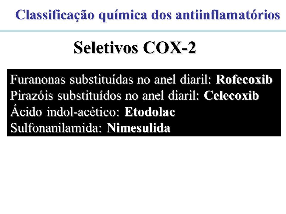 Classificação química dos antiinflamatórios Seletivos COX-2 Furanonas substituídas no anel diaril: Rofecoxib Pirazóis substituídos no anel diaril: Cel