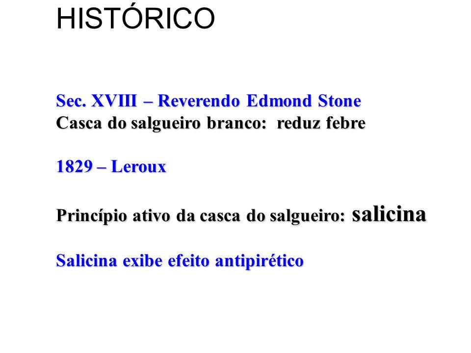HISTÓRICO Sec. XVIII – Reverendo Edmond Stone Casca do salgueiro branco: reduz febre 1829 – Leroux Princípio ativo da casca do salgueiro: salicina Sal