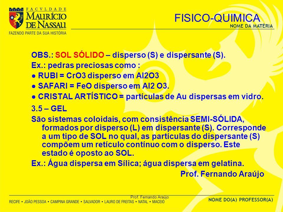 NOME DA MATÉRIA NOME DO(A) PROFESSOR(A) Prof. Fernando Araújo FISICO-QUIMICA OBS.: SOL SÓLIDO – disperso (S) e dispersante (S). Ex.: pedras preciosas