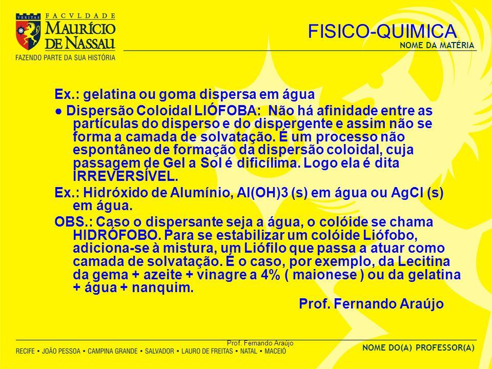 NOME DA MATÉRIA NOME DO(A) PROFESSOR(A) Prof. Fernando Araújo FISICO-QUIMICA Ex.: gelatina ou goma dispersa em água Dispersão Coloidal LIÓFOBA: Não há